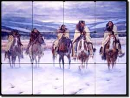 Native Horse Tile Mural Backsplash Morrow Southwest Art RW-KM002