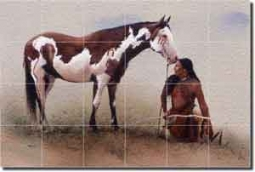 "Fawcett Native American Glass Tile Mural 36"" x 24"" - JFA004"
