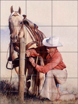 Fence Work by John Fawcett Ceramic Tile Mural - JFA006
