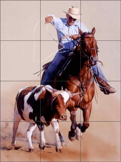 Twenty-five Years of Roping by John Fawcett Ceramic Tile Mural JFA009