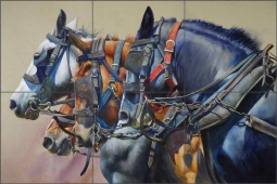 Four Horsepower by John Fawcett Ceramic Tile Mural - JFA013