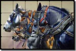 "Four Horsepower by John Fawcett Tumbled Marble Tile Mural 24"" x 16"" - JFA013"