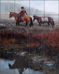 Creekside Reflection by John Fawcett Ceramic Tile Mural JFA015
