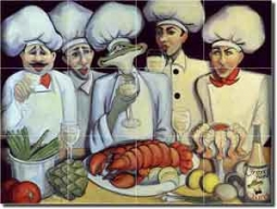 "Bon Appetit by Jann Harrison - Chef Ceramic Tile Mural 24"" x 18"""