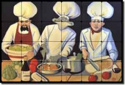 "Culinary Magic by Jann Harrison - Chefs Tumbled Marble Tile Mural 24"" x 16"""