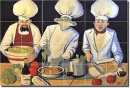 "Culinary Magic by Jann Harrison - Chef Ceramic Tile Mural 25.5"" x 17"""