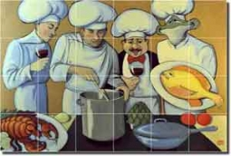 "Harrison Chef Fish Ceramic Tile Mural 25.5"" x 17"" - JHA003"