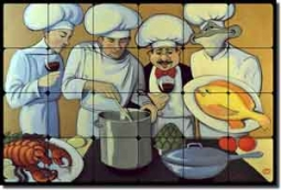 "Harrison Chefs Fish Tumbled Marble Tile Mural 24"" x 16"" - JHA003"