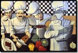 "Harrison  Chefs Kitchen Tumbled Marble Tile Mural 24"" x 16"" - JHA004"