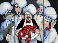 The Lobster by Jann Harrison Ceramic Tile Mural JHA006
