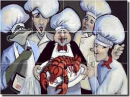 "Harrison Chefs Lobster Art Floor Tile Mural 32"" x 24"" - JHA006"