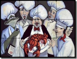 "Harrison Chefs Lobster Art Tumbled Marble Tile Mural 24"" x 18"" - JHA006"