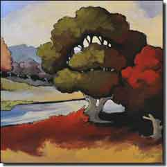 "Harrison River Landscape Ceramic Accent Tile 6"" x 6"" - JHA007AT"