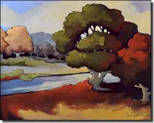 "Harrison River Landscape Ceramic Accent Tile 10"" x 8"" - JHA007AT"