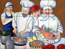 Salmon Fare by Jann Harrison Ceramic Tile Mural - JHA018