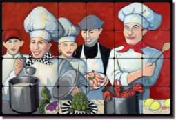 "Harrison Chef Kitchen Art Tumbled Marble Tile Mural 24"" x 16"""