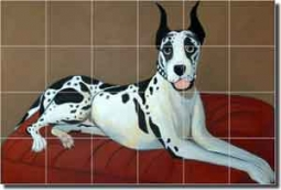"Harrison Great Dane Dog Ceramic Tile Mural 25.5"" x 17"" - JHA023"