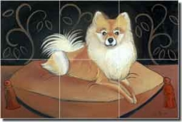 "Harrison Pomeranian Dog Ceramic Tile Mural 18"" x 12"" - JHA026"