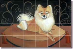 "Harrison Pomeranian Dog Ceramic Tile Mural 25.5"" x 17"" - JHA026"