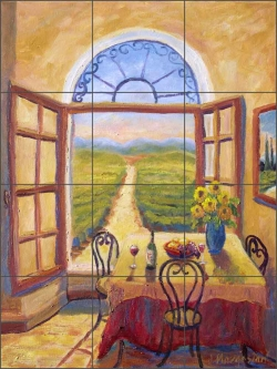 Vineyard View by Joanne Morris Margosian Ceramic Tile Mural - JM005
