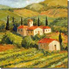 "Morris Tuscan Landscape Ceramic Accent Tile 6"" x 6"" - JM012AT"