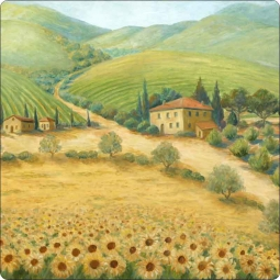 Morris Tuscan Sunflower Landscape Tumbled Marble Accent & Decor Tile JM015AT