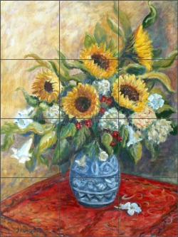 Sunflowers in Blue Vase by Joanne Morris Margosian JM017