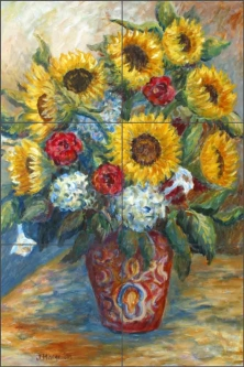 Sunflowers in a Red Vase by Joanne Morris Margosian JM018