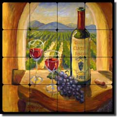 "Morris Wine Vineyard Tumbled Marble Tile Mural 16"" x 16"" - JM021"