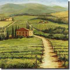 "Morris Tuscan Landscape Ceramic Accent Tile 4.25"" x 4.25"" - JM025AT"