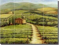 "Morris Tuscan Vineyard Ceramic Tile Mural 24"" x 18"" - JM025"