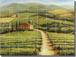 "Morris Tuscan Vineyard Ceramic Tile Mural 48"" x 36"" - JM025"