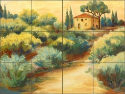 Tuscan Yellow Broom Villa by Joanne Morris Margosian Ceramic Tile Mural JM026