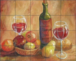 Wine and Fruit by Joanne Morris Margosian Ceramic Tile Mural JM034