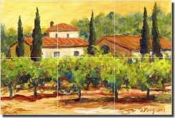 "Morris Tuscan Vineyard Ceramic Tile Mural 18"" x 12"" - JM035"