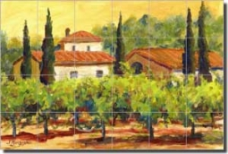 "Morris Tuscan Vineyard Ceramic Tile Mural 25.5"" x 17"" - JM035"