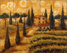 Tuscan Starry Night by Joanne Morris Margosian Ceramic Tile Mural - JM046