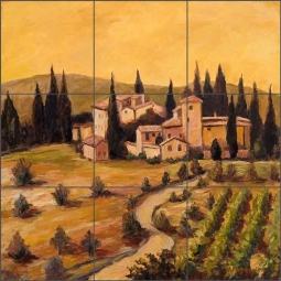 Vineyard I by Joanne Morris Margosian Ceramic Tile Mural - JM049