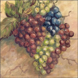 Grapes by Joanne Morris Margosian Ceramic Tile Mural JM052