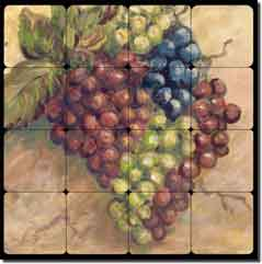 "Morris Grape Fruit Tumbled Marble Tile Mural 16"" x 16"""