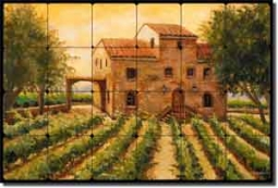 "Morris Cardella Winery Vineyard Tumbled Marble Tile Mural 24"" x 16"" - JM054"