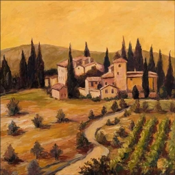 Chianti Vineyard I by Joanne Morris Margosian Ceramic Accent & Decor Tile JM055AT