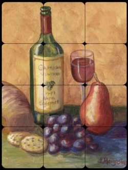 Wine, Grapes and Pears by Joanne Morris Margosian Tumbled Marble Tile Mural - JM060