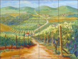 Tuscan Vineyard II by Joanne Morris Margosian Ceramic Tile Mural JM062