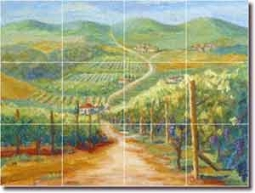 "Tuscan Vineyard II by Joanne Morris - Landscape Glass Tile Mural 24"" x 18"""