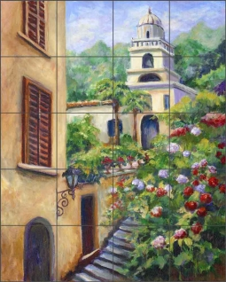 Chapel Steps II by Joanne Morris Margosian Ceramic Tile Mural JM063