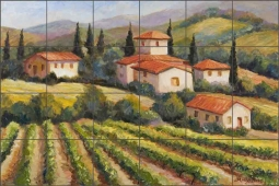 Tuscan Villa Vineyard by Joanne Morris Margosian Travertine Tile Mural - JM064b