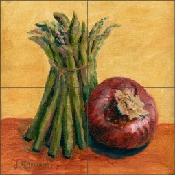 Asparagus and Onion by Joanne Morris Margosian Ceramic Tile Mural JM067
