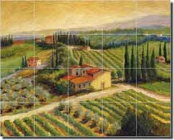 "Morris Vineyard Landscape Glass Tile Mural 30"" x 24"" - JM069"