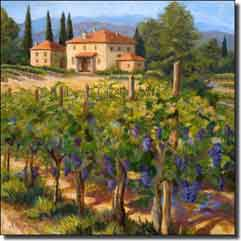 "Morris Tuscan Vineyard Ceramic Accent Tile 4.25"" x 4.25"" - JM072AT2"